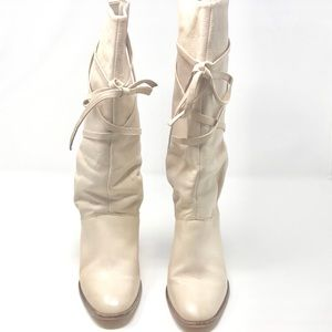 Kors by Micheal Kors Leather Cream Knee Boot 7 1/2